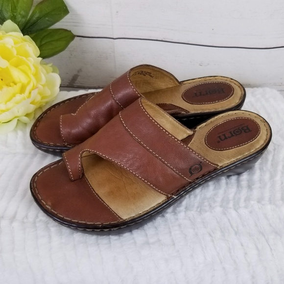 2a8e8ae05e68 BORN Brown Leather Toe Loop Sandals Size 7 38 Clog